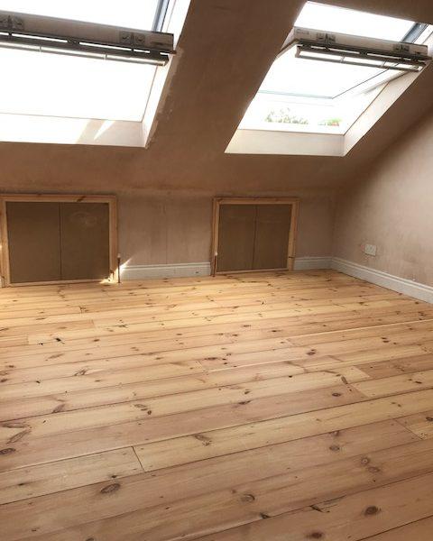 Reclaimed Antique Pine Flooring in attic