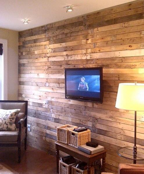 Timber Wall Cladding with TV