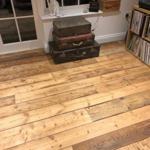 Reclaimed rustic floorboards