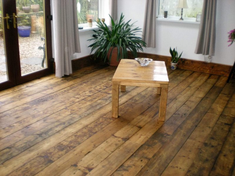 rustic floorboards and coffee table