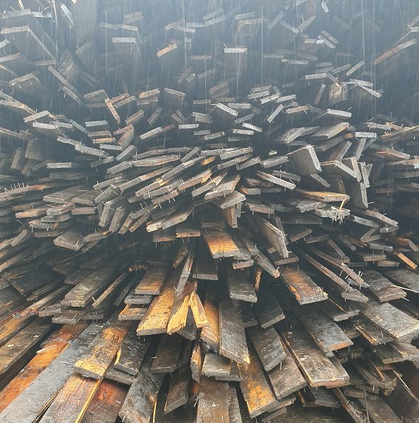 Stacks of reclaimed boards