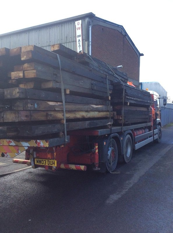 reclaimed wood on back of lorry